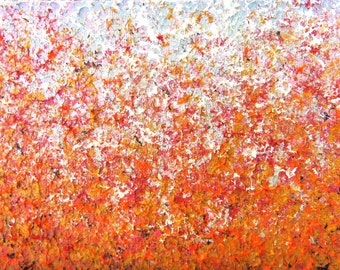 Abstract Expressionism Orange Art, Modern Abstract Art Print, Colorful Art Giclee Print of Impressionist Painting, Fall Pumpkin Home Decor