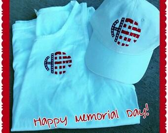 Patriotic monogram hat and tank top set