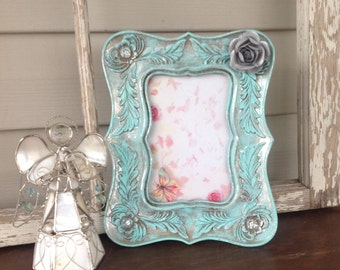 4x6 Mint & Silver Picture Frame - French Country Design Table Top Easel Back
