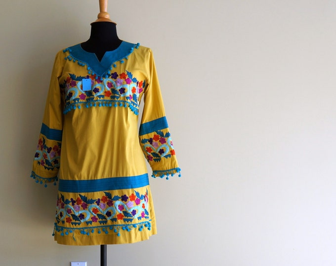 Hippie Shirt Vintage Indian Top Tribal Mini Dress 1970s Floral Embroidered Chartreuse Green Cotton Teal Blue Pom Poms Thai Moroccan Folk