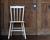 Vintage Chippy Wood Chair - Painted White -  Shabby Chic, Cottage Decor, Chippy, Distressed Weathered Patina, Vintage Seating, Rustic Decor