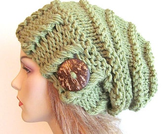 Slouchy Beanie Slouch Hats Oversized Baggy Beret Button womens fall winter accessory Green Super Chunky Hand Made Knit
