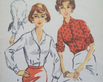 Vintage 1950s Darted Blouse Pattern Vintage McCalls 4625 Size 12 Bust 32 Cut Pattern