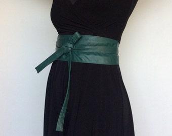 Wide Leather Wrap Obi Belt, Green Leather Belt, Women Stunning Belt, Fashion Belts, Trendy Belts, Stylish Belts