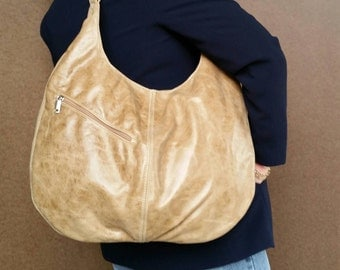 Distressed Leather Slouchy Hobo Bag - Large Women Purse - Rustic Shoulder Handbag -  yoby