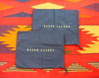 Lot of 2 POLO by Ralph Lauren Navy Blue Cotton Drawstring Shoe Bags.  Made in ITALY.
