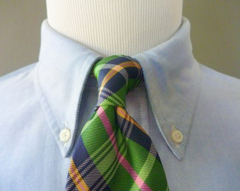 BEAUTIFUL Vintage POLO by Ralph Lauren 100% Silk Multicolored Light Green Plaid Trad / Ivy League Neck Tie.  Handmade in USA.