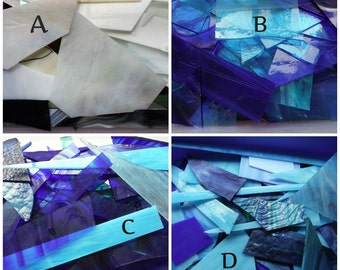 Stained Glass Pieces in Blues, Clears, Greens, Pinks, Purples,Yellows,  etc.  for Craft, jewelry and Mosiac work