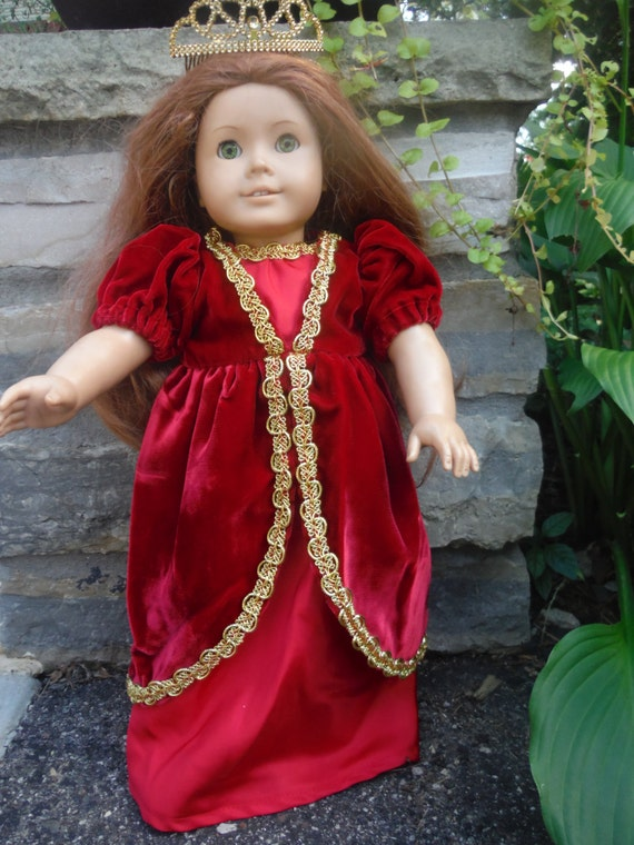 Princess dress and tiara for your 18 Inch popular dolls, in a beautiful regal red color by Project Funway on Etsy