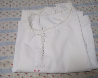 Vintage Cotton Nightie, Monogram MP Hand embroidery. Washed Ironed and White, French.