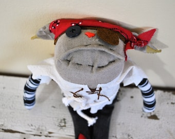 Pirate Sock Animal Rag Doll, made with all reclaimed clothing, hand-stitched, OOAK, Plush Hipster Toy, Unique, Sustainable, Softie, Quirky