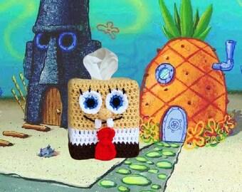 SpongeBob SquarePants Tissue Box Cozy Crochet Pattern, Kleenex cozy