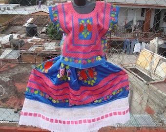 Blue Satin Tehuana Traje (matching huipil and skirt)
