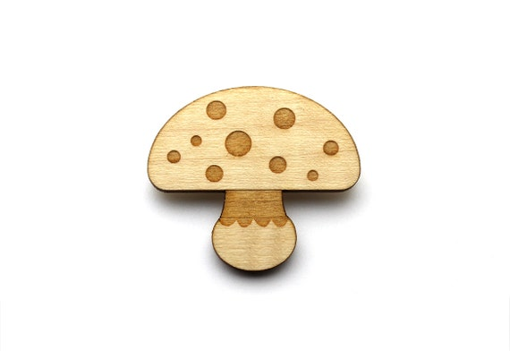 Mushroom brooch - mushroom pin - fall jewelry - autumn jewellery - lasercut maple wood - graphic and minimalist - in the forest