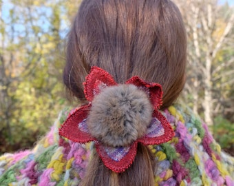 Red hair tie Pompom pony holder Recycled fur Winter hair Gift for her Red pony holder pompom hair tie Eco hair accessory