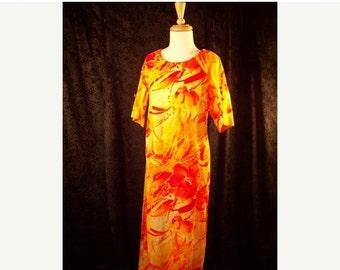60% OFF Clearance Sale Vintage 70s Hawaiian Maxi Dress Malhini MuuMuu sz M