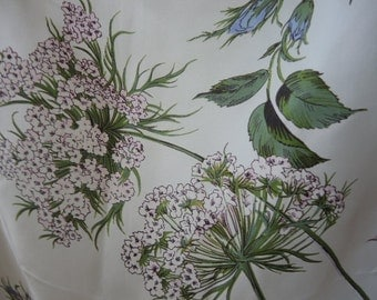 Vintage 1950s scarf Vanette Creations silk and rayon floral 31 x 31 inches
