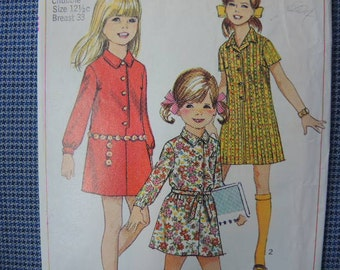 vintage 1960s Simplicity sewing pattern 7786 girls shirt dress size 12 1/2