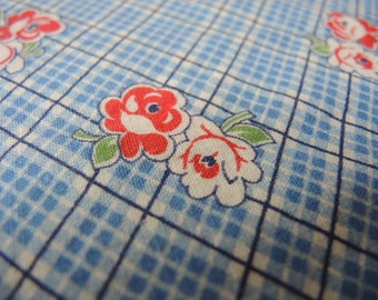 Vintage 1940s cotton fabric feedsack blue plaid with flowers  44 inches  36 inches wide