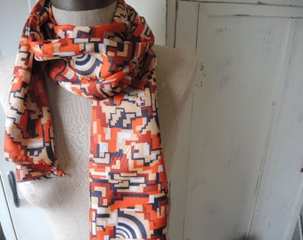 vintage 1960s acetate scarf abstract mod orange black and white  10  x 70 inches
