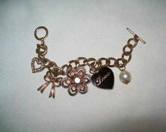 vintage heart charm bracelet vintage bracelet