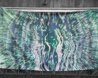 """Weiche hochwertige 100 % Baumwolle Art print Wandteppich """"elektrische smaragdgrünen Wellen"""""""