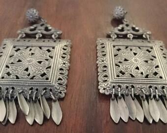 Boho Earrings, Bohemian Jewelry, Large Unique Earrings, Vintage Chic, Hippie Earrings, Vintage Jewelry, Boho Chic