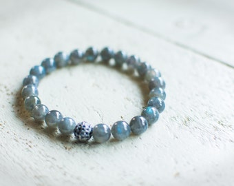 Blue AA Kyanite Beaded Bracelet with Blue Sapphire Pave Sterling Bead Stretch Braclet