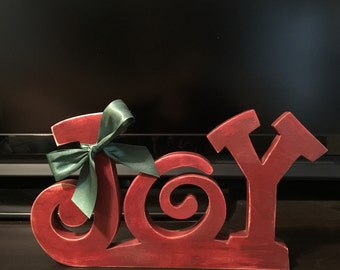 Wood Christmas JOY Stand Alone Sign, Unfinished or Painted