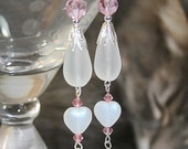Pink Drop Dangle Earrings Pink Wedding Earrings Handcrafted Shoulder Duster Earrings