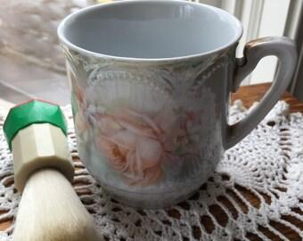 Stunning Antique Germany  Shaving Mug and Brush Set Hand Painted  Roses Lusterware Embossing