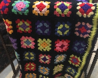 Vintage Wool Granny Square Throw Afghan  Handmade Black snd Bright Multi Colored