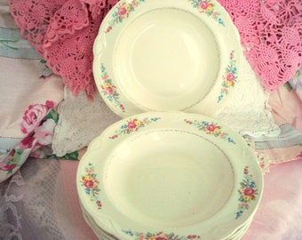 Vintage Wedding Soup Bowls Homer Laughlin Pink Rose Shabby Chic Set of 6 Vintage Bridal Shower Engagement Party