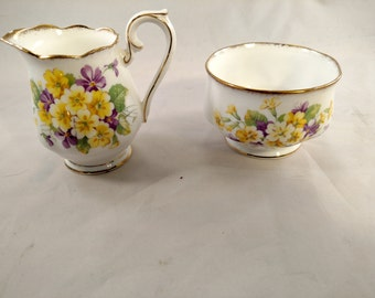 Royal Albert Open Sugar and Creamer, Unnamed, Colorful Violets or Pansies, Mint Condition