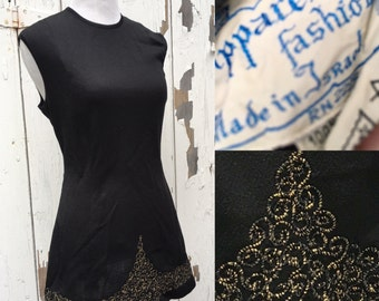 Vintage 1960s Little Black Mini Dress/ Tunic