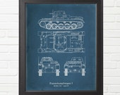 World War Two German Panzer I Ausf B Tank Blueprint Reproduction - Varying Sizes