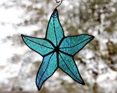 Stained Glass Starfish, Aqua Blue Iridescent, Beach Decor, Glass Art