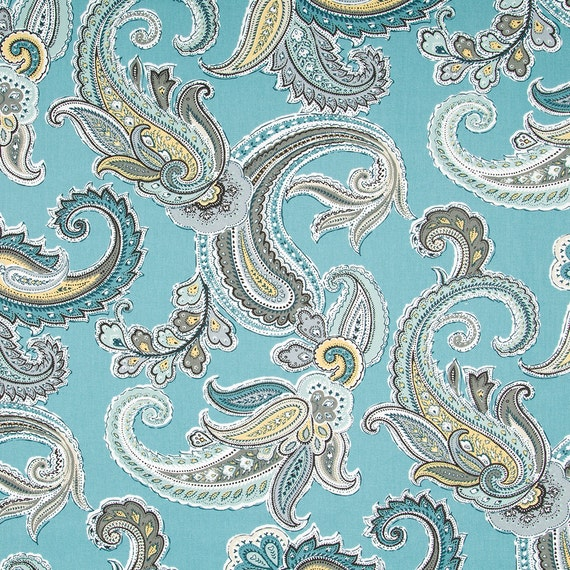 Navy blue paisley cotton upholstery fabric blue brown for Modern kids fabric