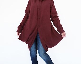 NO.127 Burgundy Viscose Cocoon Coat, Hoodie Jacket, Women's Jacket