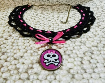 Goth Lolita Victorian Choker with Handcrafted Skull pendant - OOAK by GothDollie