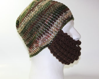 Crochet Bearded Skullcap - Beard Hat - Brown and Green Striped Hat With Beard Face Warmer - Ready To Ship!