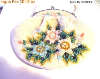 25% Off Storewide Sale Antique Beaded Purse With Pastel Flowers On Each Side and Beaded Handle
