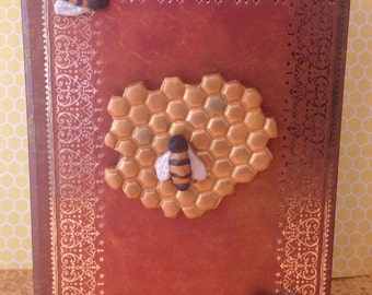 Polymer clay Bee journal,handmade,Bees,honey comb,Bee hive,note books,note pad