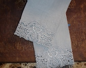 RESERVED FOR B Tea Towels set of Two, Silver Blue, Vintage Towels, Crocheted Lace Edging, Downton Abbey, Home decor, High Tea