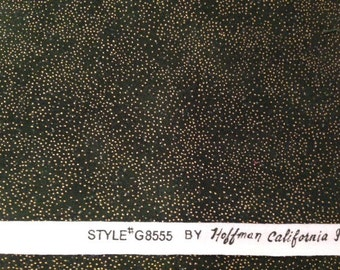 DESTASH Fabric -  17.5 inches of Forest Green with Gold Dots Hoffman California International Style #G8555 Quilting Fabric