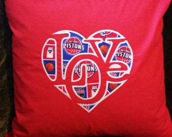 """Embroidered Detroit Pistons  """"Love""""  Pillow Cover  - 18 x 18- Detroit Pistons"""