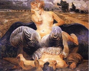 Jacek Malczewski Print - Polish Art - Chimera Picture - Chimera Art - Antique Painting