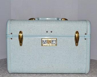 Blue Samsonite Train Case ~ Vintage Luggage ~ Mid Century ~ Over Night Bag ~ Epsteam