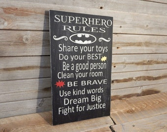 Superhero Rules Wall or shelf sign