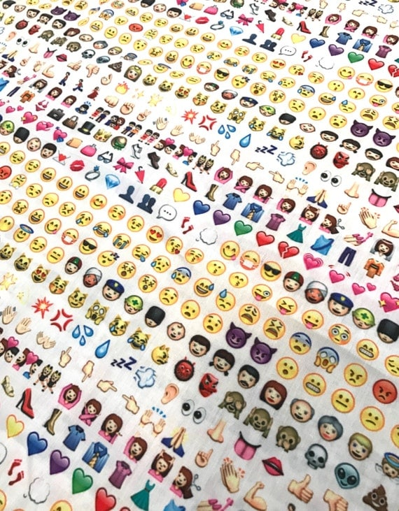 Awesome emoji fabric 1 yard 1 2 yard available 100 cotton for Emoji fabric